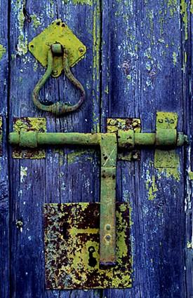 rusty, peeling door