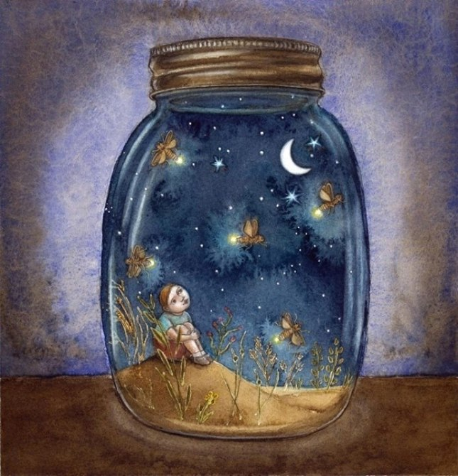boy in jar with fireflies