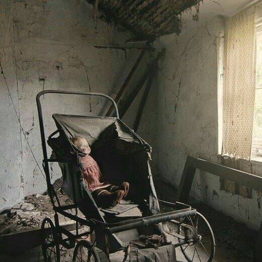 abandoned house with doll